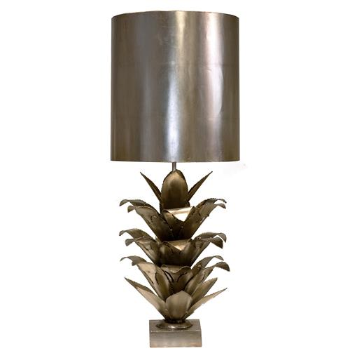 Plantation Global Bazaar Silver Pineapple Table Lamp | Kathy Kuo Home