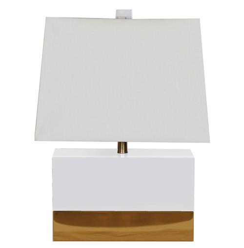 Titan Hollywood Regency Rectangular White Gold Table Lamp | Kathy Kuo Home