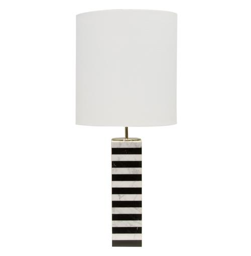Grevy Global Bazaar Black White Stacked Marble Table Lamp | Kathy Kuo Home
