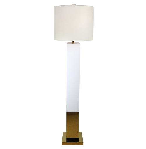 Titan Hollywood Regency Square Gold White Floor Lamp | Kathy Kuo Home