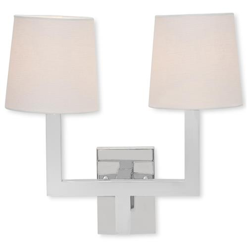 Mason Hollywood Regency Square Silver Double Wall Sconce | Kathy Kuo Home