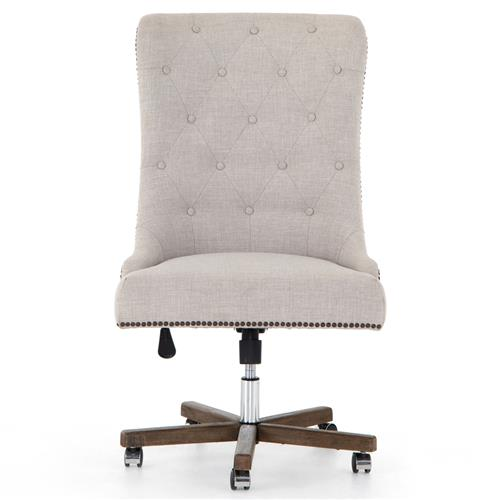 Luis French Country Grey Tufted Upholstered Swivel Rolling Office Side Chair | Kathy Kuo Home