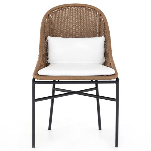 Lily Coastal Beach White Performance Upholstered Woven Outdoor Dining Side Chair | Kathy Kuo Home