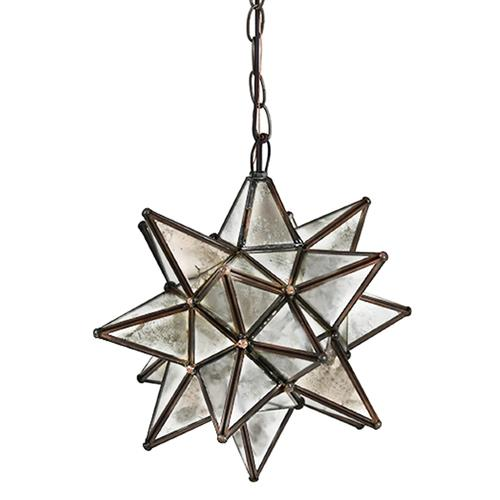 Polaris Hollywood Regency Star Antique Mirror Glass Pendant - 12 Inch | Kathy Kuo Home