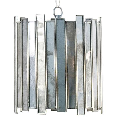 Mirren Hollywood Regency Silver Mirror Pendant - 7 Inch | Kathy Kuo Home
