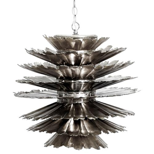 Coronado Global Bazaar Layered Leaf Silver Iron Pendant | Kathy Kuo Home