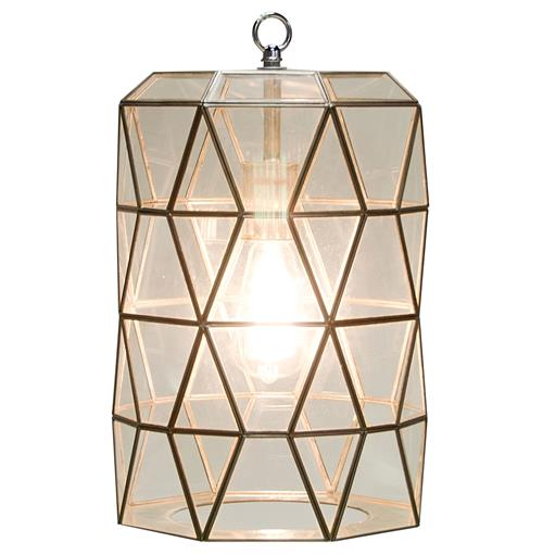 Origami Global Bazaar Clear Glass Cylinder Pendant Lantern | Kathy Kuo Home