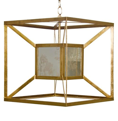 Borg Global Bazaar Antique Mirror Gold  Hanging Cube Pendant | Kathy Kuo Home