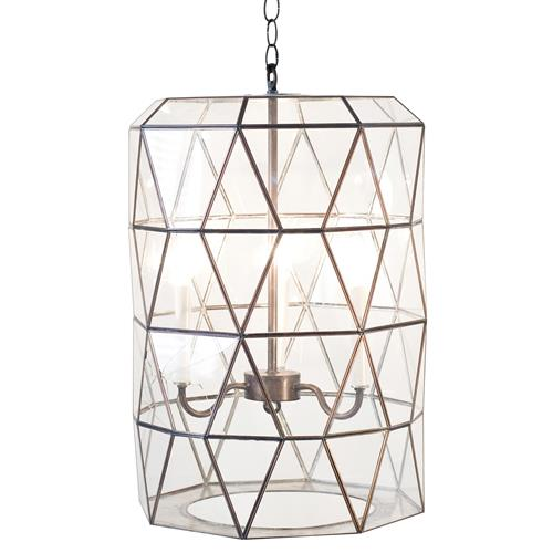 Accordion Global Bazaar Glass Clear Cylinder Pendant Lantern | Kathy Kuo Home