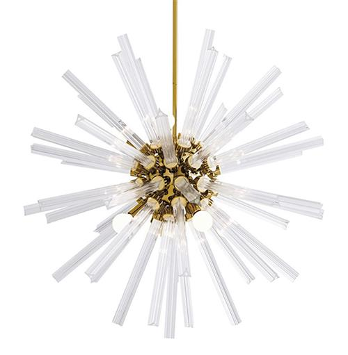 Arteriors Hanley Mid Century Glass Brass Sunburst Chandelier - 30 Inches | Kathy Kuo Home