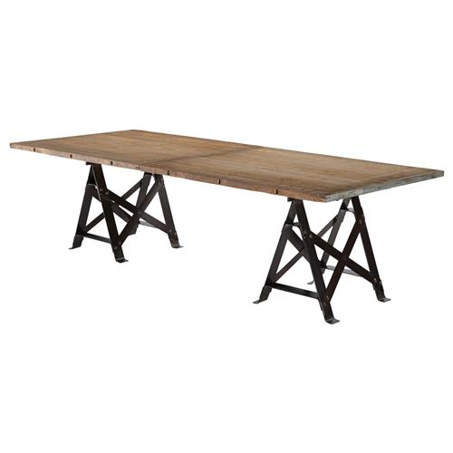 Frinier Industrial Loft Iron Reclaimed Wood Large Dining Table - 107 Inch | Kathy Kuo Home