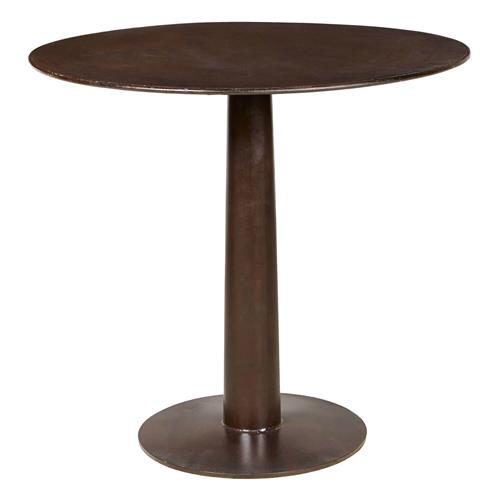 Oxford Industrial Loft Distressed Brown Round Metal Outdoor Bar Table | Kathy Kuo Home