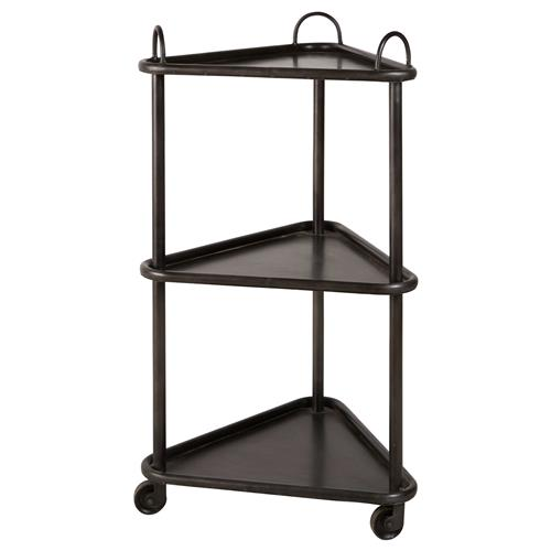 Wallance Industrial Loft 3 Tier Metal Casters Cart Side Table | Kathy Kuo Home