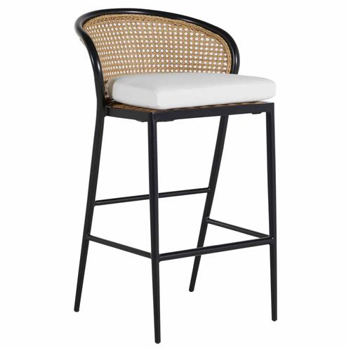 Summer Classics Havana White Performance Seat Woven Cane Outdoor Counter Stool | Kathy Kuo Home