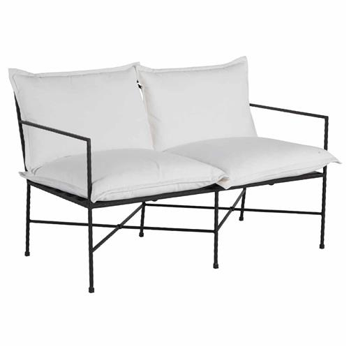 Summer Classics Italia Industrial White Performance Black Iron Outdoor Loveseat | Kathy Kuo Home
