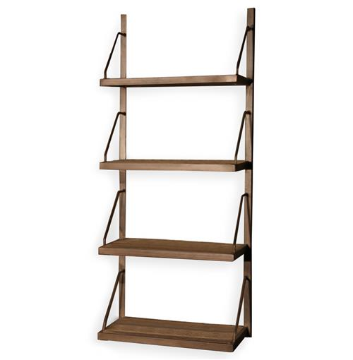 Rennie Industrial Reclaimed Elm Iron Wall Shelf - 59 Inch | Kathy Kuo Home