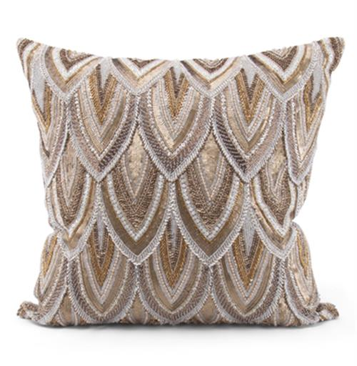 Cortez Copper Gold Beaded Hand Embroidered Pillow - 22x22 | Kathy Kuo Home