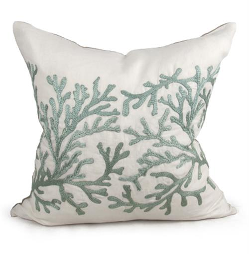 Portland Coastal Beach Seafoam Green Pillow - 24x24 | Kathy Kuo Home