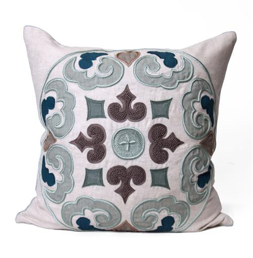 Perry Coastal Beach Grey Blue Square Pillow - 24x24 | Kathy Kuo Home