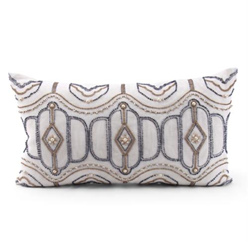 Hanover Blue Tan Hand Embroidered Pillow - 14x24 | Kathy Kuo Home