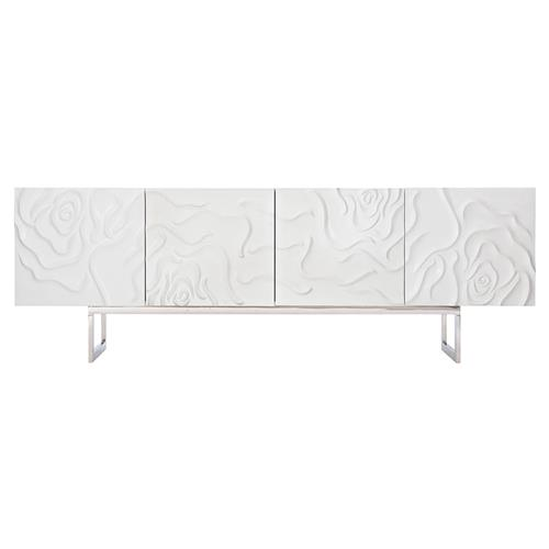 Donna Modern Classic White Wood Floral Patterned Buffet Sideboard | Kathy Kuo Home