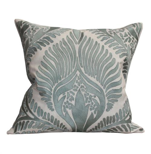 Revere Coastal Beach Seafoam Green Ivory Pillow - 24x24 | Kathy Kuo Home