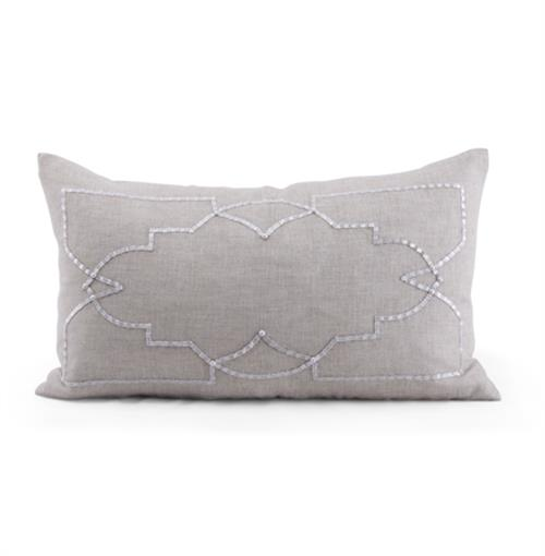 Hadley Grey Hand Embroidered Pillow - 14x24 | Kathy Kuo Home