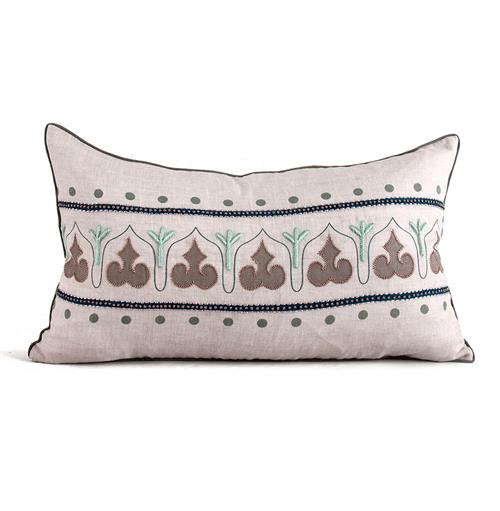 Danvers Seafoam Green Natural Hand Embroidered Pillow - 14x24 | Kathy Kuo Home