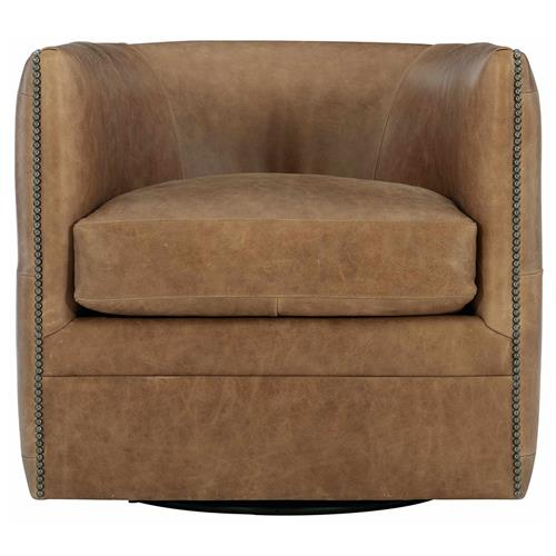 Brandon French Country Brown Leather Tufted Swivel Living Room Chair | Kathy Kuo Home