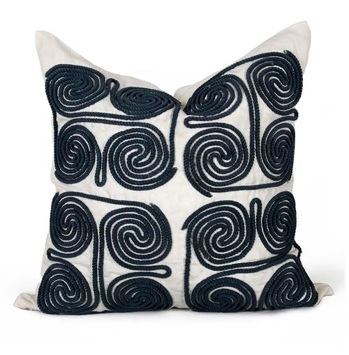 Stow Coastal Beach Navy Swirl Pillow - 24x24 | Kathy Kuo Home