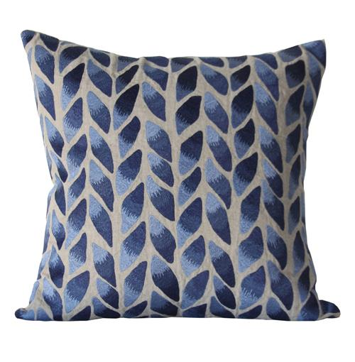 Freeport Indigo Natural Leaf Hand Embroidered Pillow 22x22