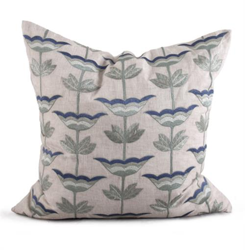 Anson Coastal Beach Natural Blue Pillow - 26x26 | Kathy Kuo Home