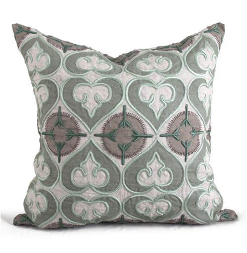 Molino Seafoam Green Medallion Pillow - 22x22 | Kathy Kuo Home