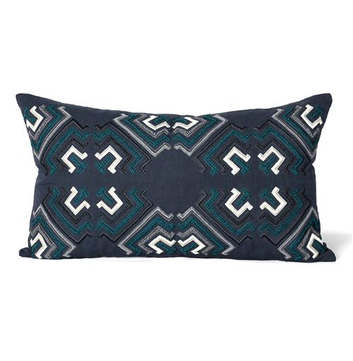 Hampden Indigo Teal Graphic Pillow - 14x24 | Kathy Kuo Home