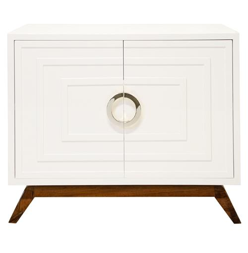 Harrison Hollywood Regency White Lacquer Nickel Media Cabinet | Kathy Kuo Home