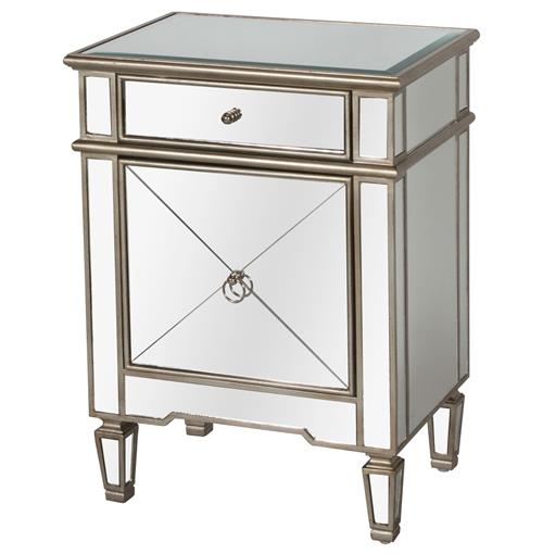 Sloane Hollywood Regency Silver Mirror Nightstand | Kathy Kuo Home