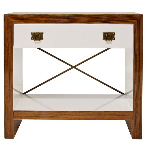 Blanche Hollywood Regency White Brown Wood Brass Nightstand | Kathy Kuo Home