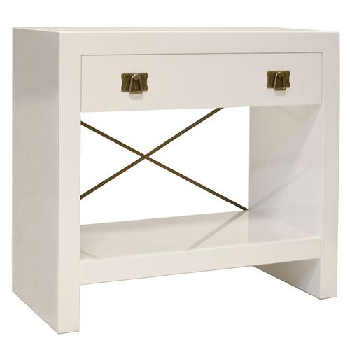 Blanche Hollywood Regency White Lacquer Brass Nightstand | Kathy Kuo Home