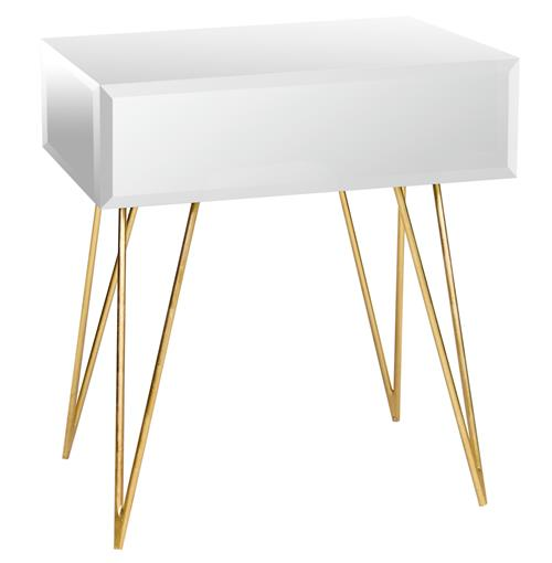 Biscayne Hollywood Regency Mirror Glass Nightstand Side Table | Kathy Kuo Home