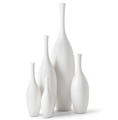 Bliss Modern Tulip Set of White Ceramic Vases - Set of 5 | Kathy Kuo Home