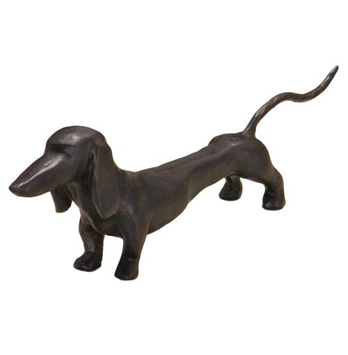 Franklin Dark Bronze Hand Sculpted Dachshund Dog Sculpture | Kathy Kuo Home