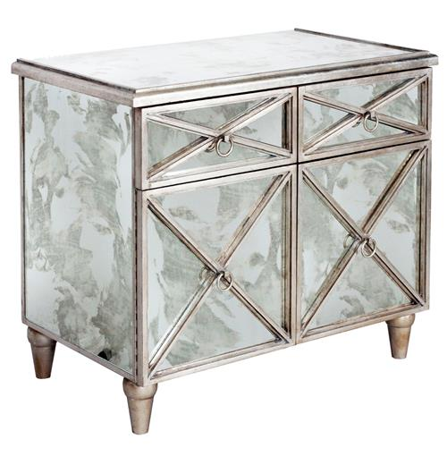 Ritz Hollywood Regency Antique Mirror Silver Crosshatch Bar Cabinet | Kathy Kuo Home