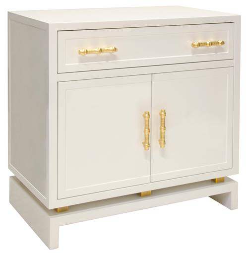 Tracey Hollywood Regency White Lacquer Nightstand Cabinet | Kathy Kuo Home