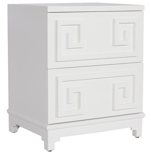 Lucio Hollywood Regency Greek White Lacquer Mirror Nightstand | Kathy Kuo Home