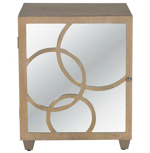 Juliette Hollywood Regency Limed Oak Mirror Left Door Nightstand | Kathy Kuo Home