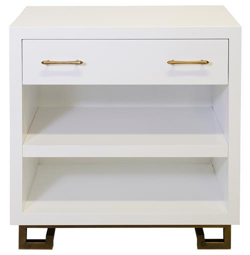 Rooney Hollywood Regency White Lacquer Nightstand | Kathy Kuo Home