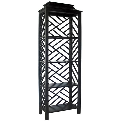 Akira Global Bazaar Burnished Black Four Shelf Bookcase | Kathy Kuo Home