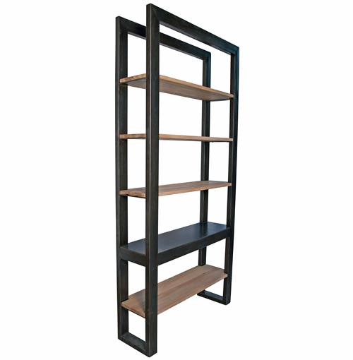 Millerton Metal Distressed Wood Industrial Loft Bookcase | Kathy Kuo Home
