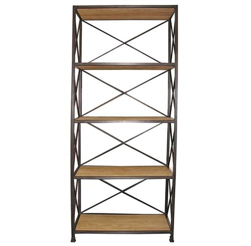 Noir Elm Metal Wood Industrial Rustic Open Bookcase | Kathy Kuo Home