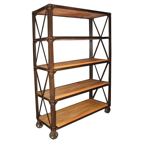 Chorley Industrial Rustic Metal Wood Rolling Bookcase with Wheels | Kathy Kuo Home